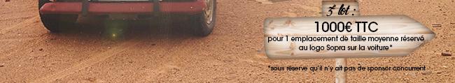 1 emplacement de taille moyenne réservé au logo Sopra sur la voiture
